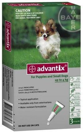 sklep zoologiczny Advantix Spot-On dla psa do 4kg - roztwór przeciwko pchłom i kleszczom - 1 pipeta w opakowaniu