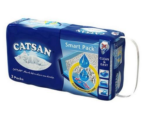 sklep zoologiczny Catsan Smart Pack 2x4L - żwirek i mata żelująca dla dłuższej świeżości